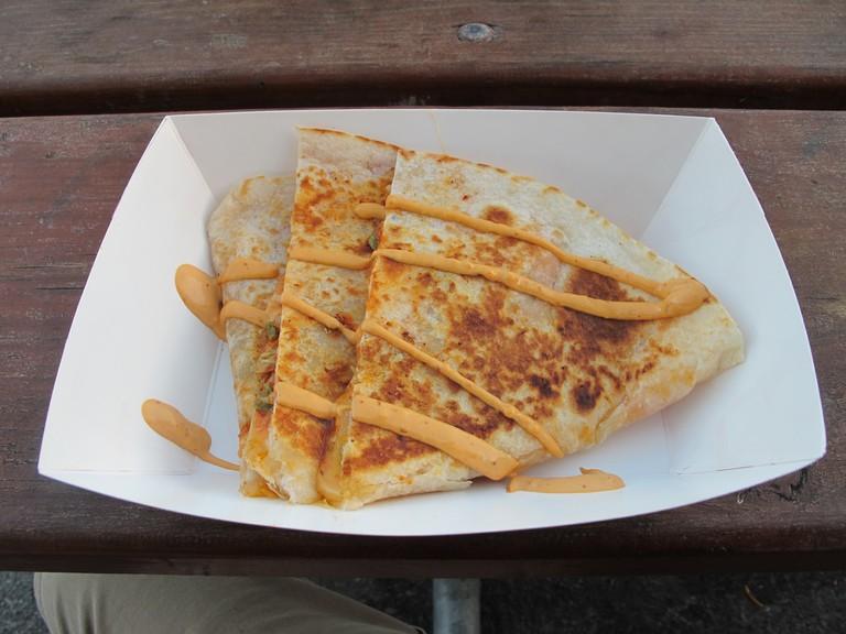 Kimchi Quesadilla from MoGo BBQ at Off the Grid: Fort Mason Center