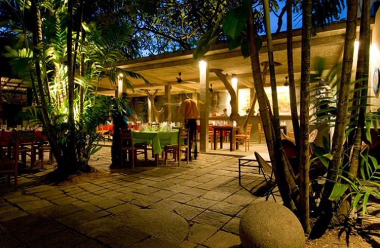 The Barefoot Garden Cafe in Colombo. At dusk..Architect: Amila de mel