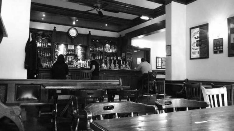 Black and White Bar Scene