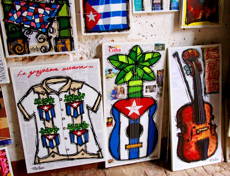 Cuban guayabera and musical instruments
