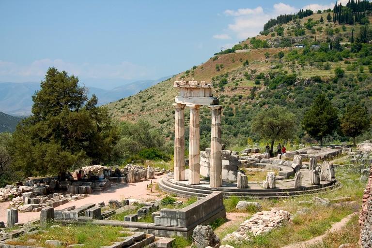 Tholos temple, a circular building in the Athena Pronaia Sanctuary, Delphi, Greece