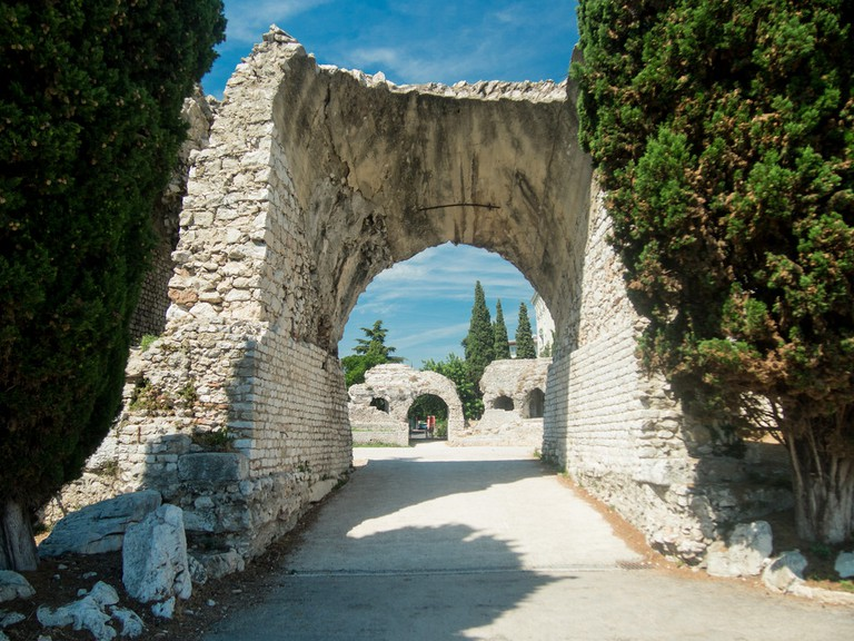 The Roman amphitheatre remains in Nice, France