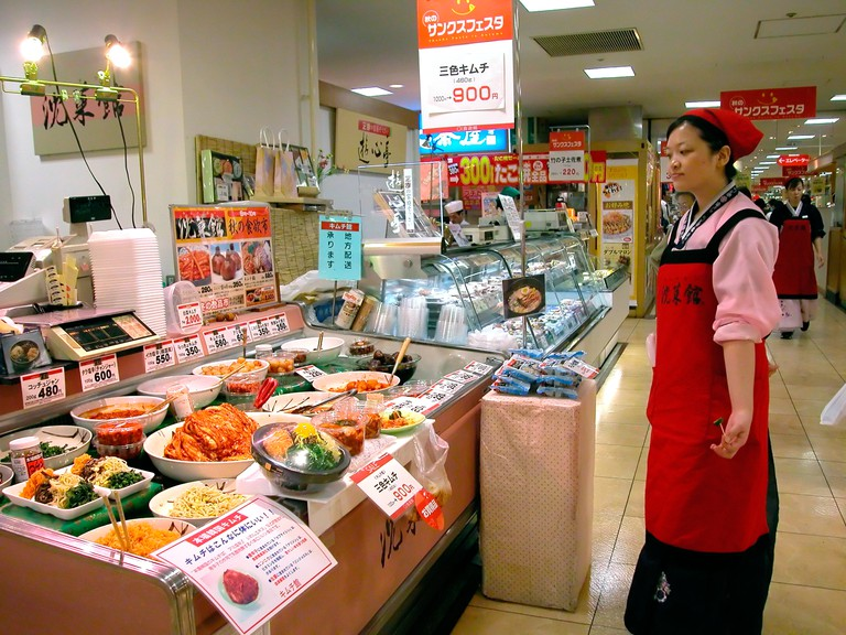 Fish stall at an exhibition of food in Tokyu department store Kichijoji, Tokyo