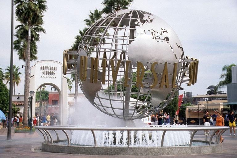 Main Entrance to Universal Studios, Hollywood, California,. Image shot 1999. Exact date unknown.