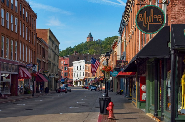 Shops in the historic downtown of Galena, Illinois a popular tourist town