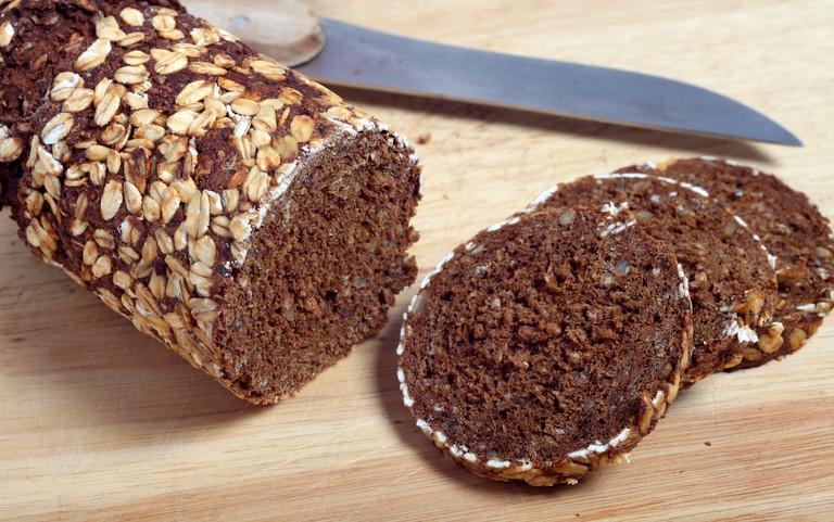 Close-up of pumpernickel rye bread