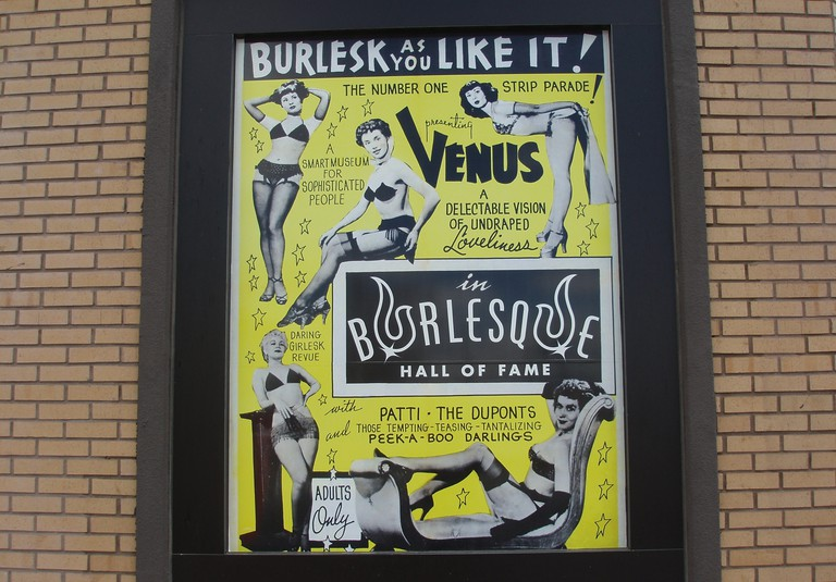 Signage outside the Burlesque Hall of Fame, Las Vegas