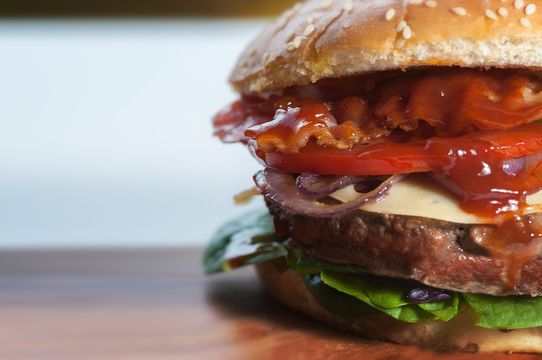 A sizeable burger, similar to those served at Figar