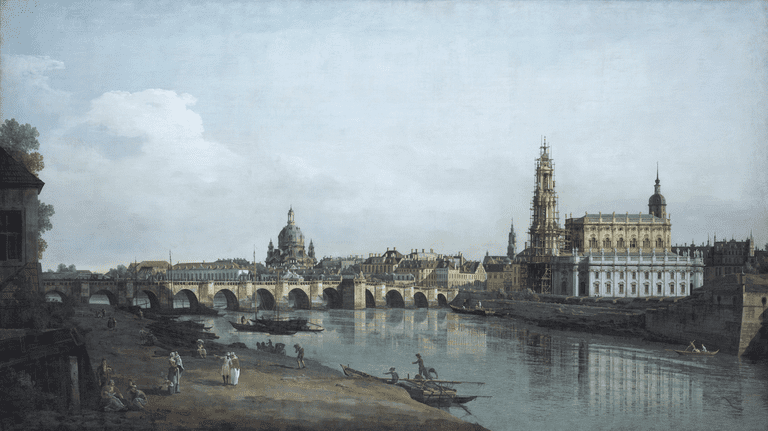 Canaletto's Dresden as Seen From the Right Bank of the River Elbe Below the Augustus Bridge, 1748
