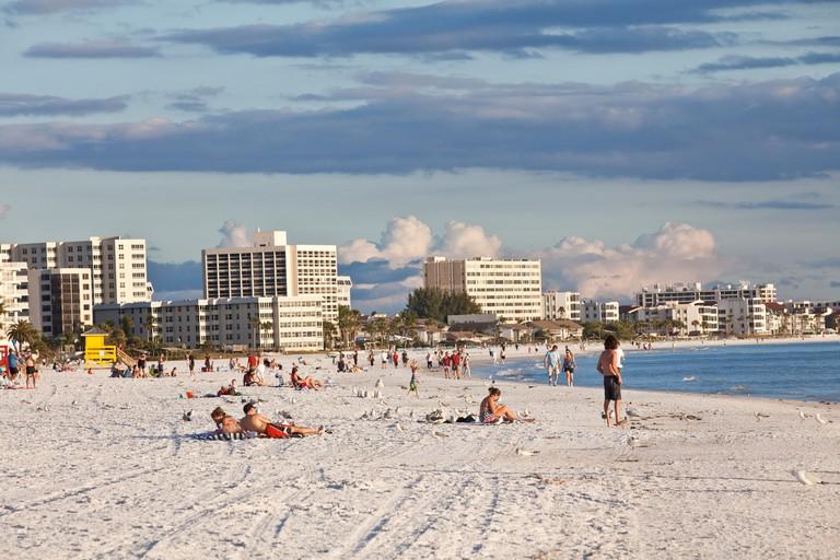 Sunbathers on Siesta Key beach, Sarasota, Florida