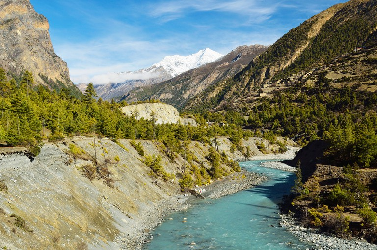 The Marsyangdi River Valley in the Annapurna Conservation Area of Nepal, Himalayas