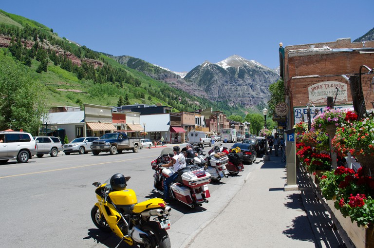 """Ouray Colorado also known as """"the Switzerland of America"""" is a former mining town in the San Juan mountains of southern Colorado. Image shot 2012. Exact date unknown."""