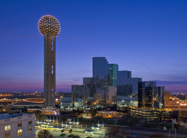 The Reunion Tower lights up with LED lights at night