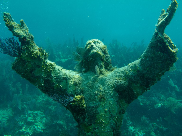 Christ of the Abyss statue in Key Largo, Florida.