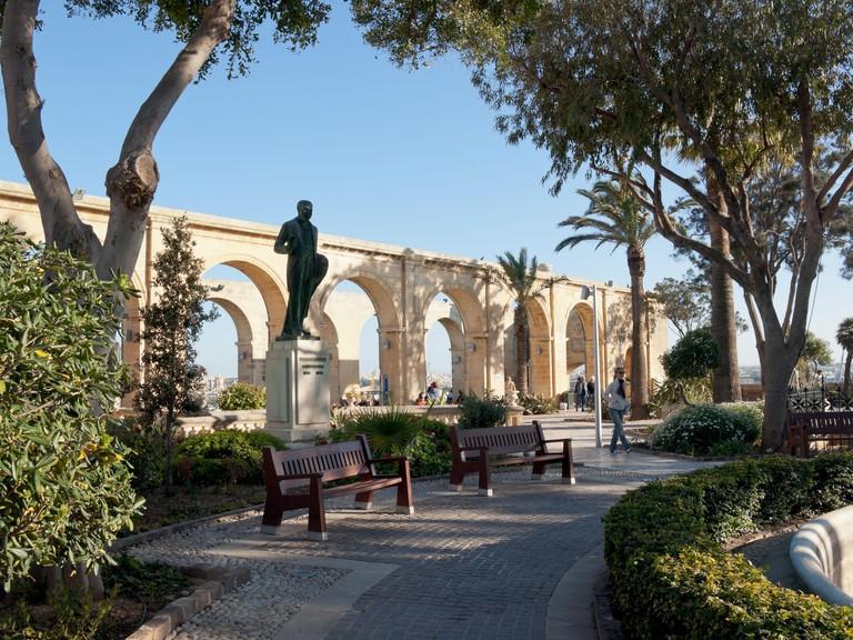 A view of the Upper Barrakka Gardens, a public garden and park in Valletta, Malta.. Image shot 03/2008. Exact date unknown.