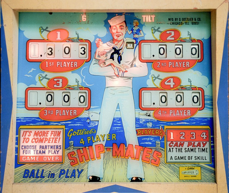 Classic vintage pinball art in Las Vegas, Nevada on January 1, 1998