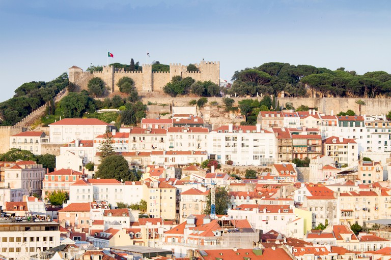 Panoramic view of Lisbon from Miradouro de Sao Pedro de Alcantara, Portugal