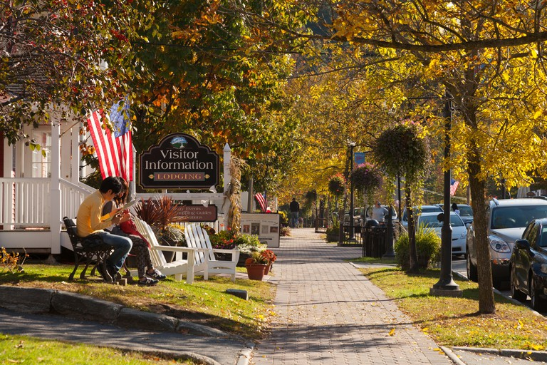 View of Main Street, Stowe, Vermont USA