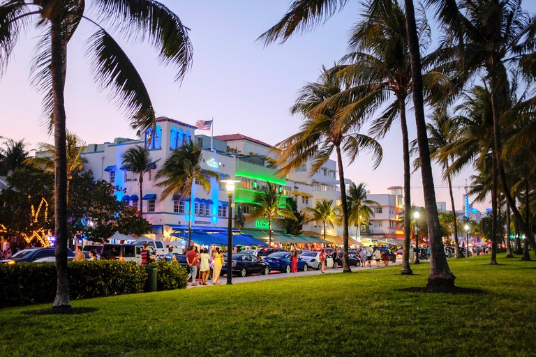Art deco hotels at night with neon lights along Ocean Drive in the Art Deco District of South Beach Miami Florida