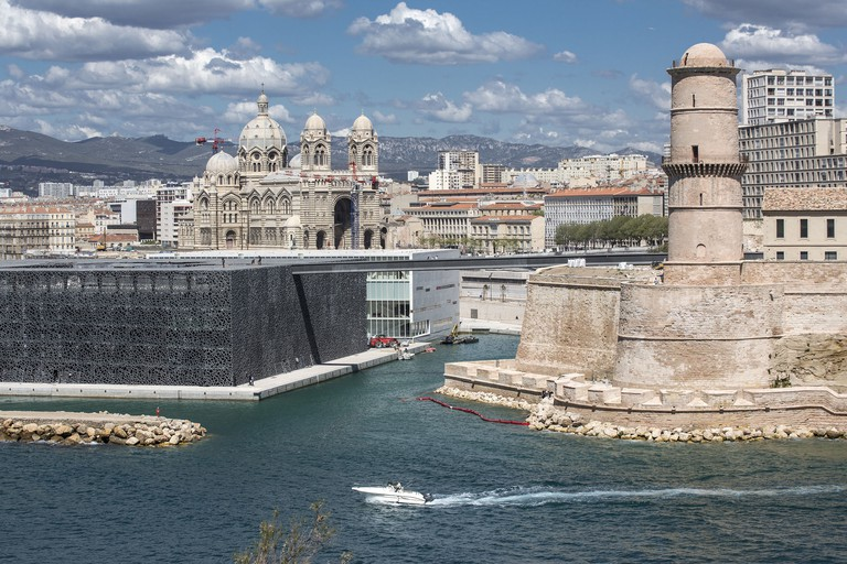 Cathedral, Fort and Mucem building Marseille, Fran
