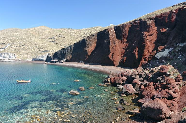 The volcanic Red Beach on the Greek Island of Santorini.