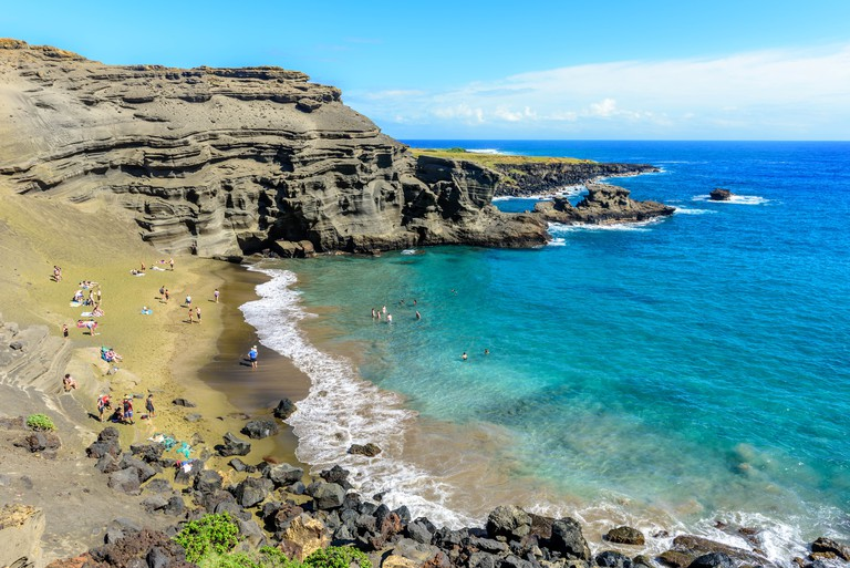 Papakōlea Beach or Green sand beach
