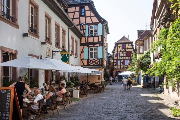 The village of Riquewihr, in the Alsace wine region of France
