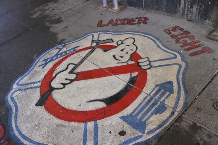 Ghostbusters' street art outside Hook & Ladder Company 8 firehouse in Tribeca, New York.