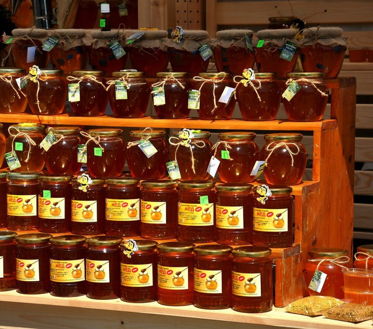 Honey stall at the market