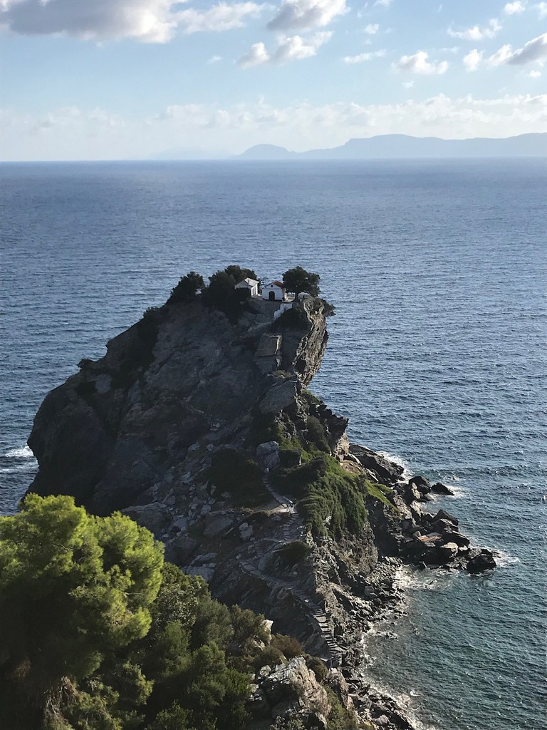 The Church of Agios Ioannis in Skopelos is the location for one of the film's most memorable moments