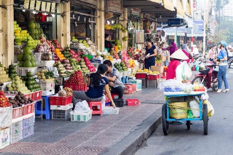 Fruit shops, Ben Thanh market, Ho Chi Minh City ( Saigon), Vietnam