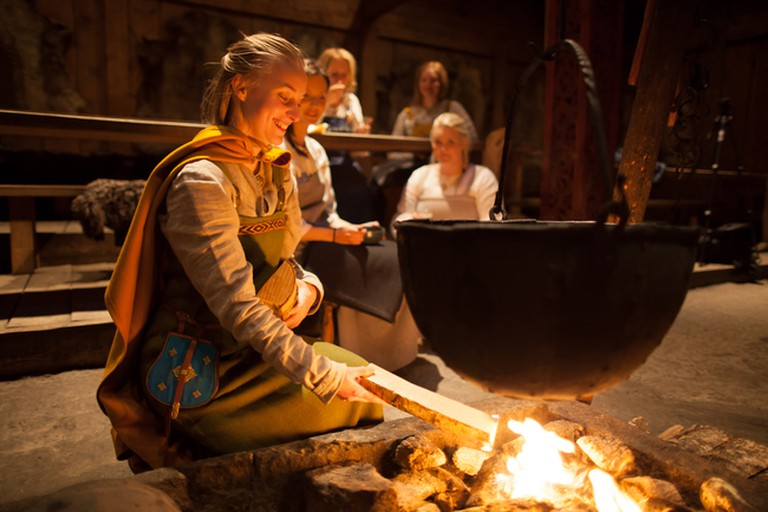 Stoking the fire at Lofotr Viking Museum