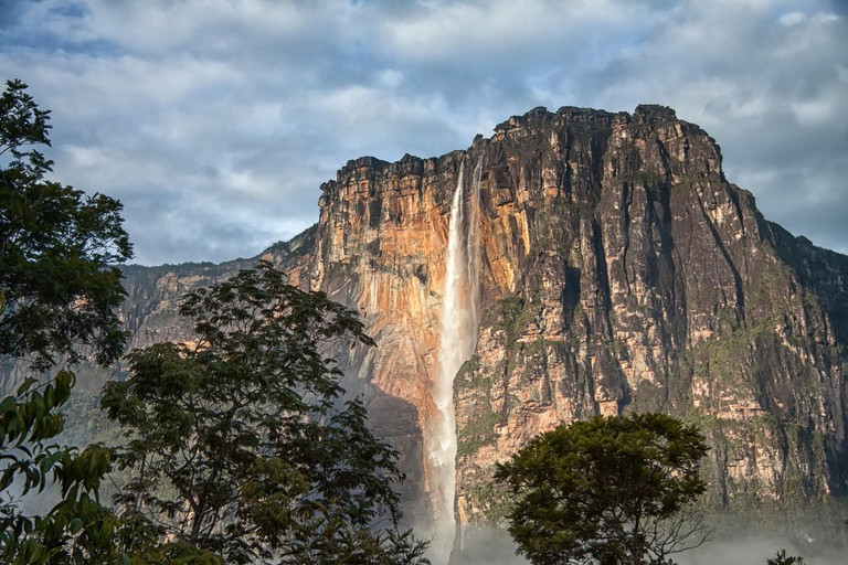 Angel falls - view to the tallest waterfall on Earth in early morning