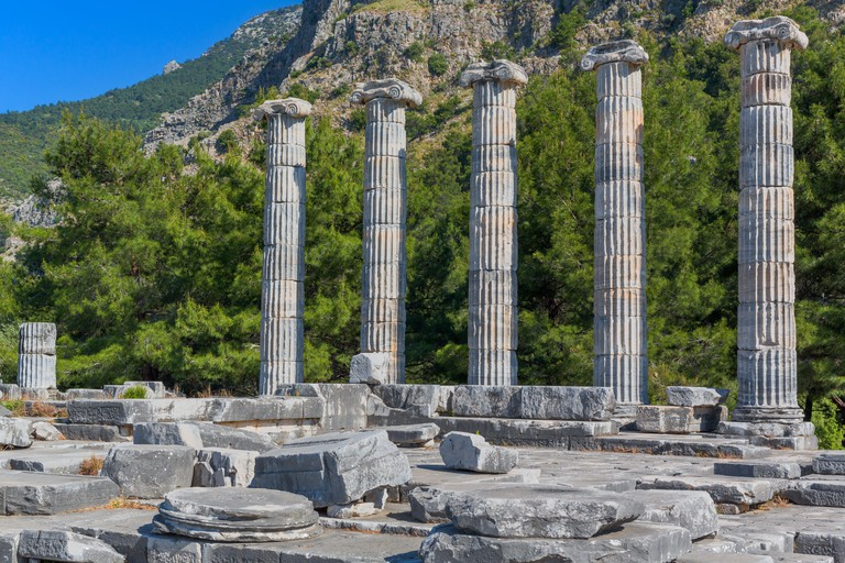 Temple of Athena, Ruins of ancient Priene, Aydin Province, Turkey.