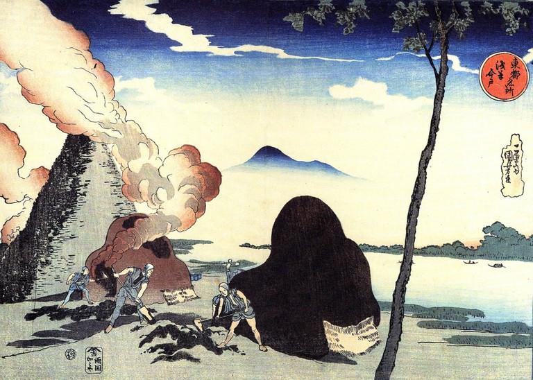 Woodblock print, 'The Kins at Imado'