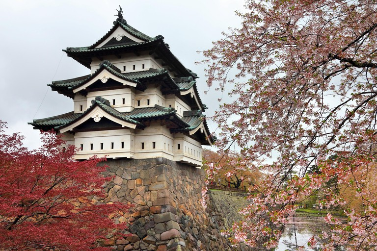 Hirosaki, Japan - the castle and cherry blossoms. Spring time in Japan.