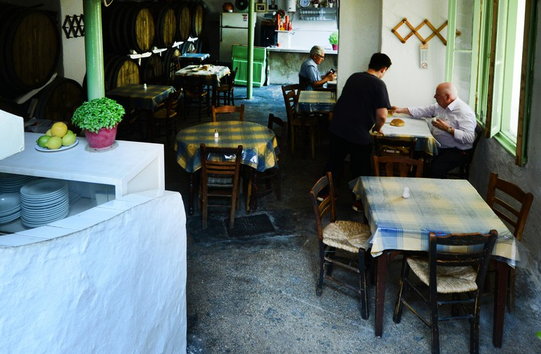 The basement level taverna Diporto in Athens
