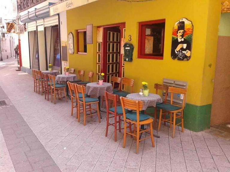 The colourful entrance of Martha's Pub