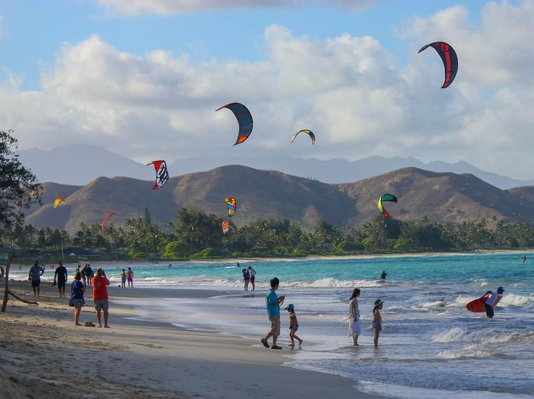 Kite surfing at Lanikai Beach Oahu, Hawaii