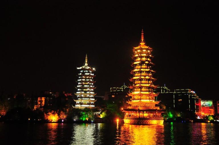 Sun and Moon Pagodas, Guilin / China