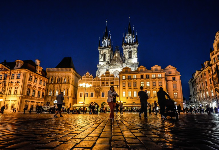 Old Town Square at night