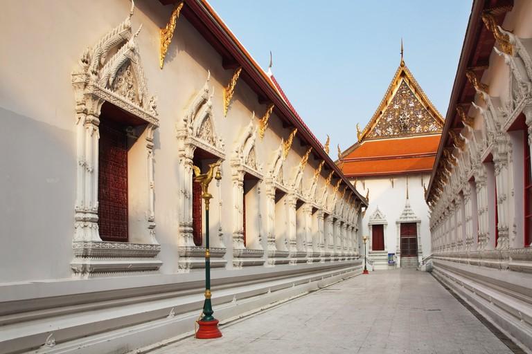 Wat Mahathat Yuwaratrangsarit Ratchaworamahawiharn in Bangkok. Kingdom of Thailand