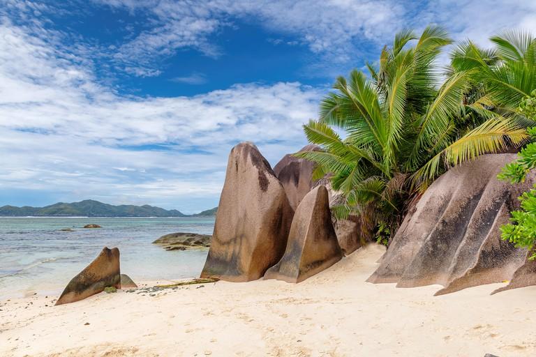 Exotic beach on Seychelles, Anse Source d'Argent, La Digue island.