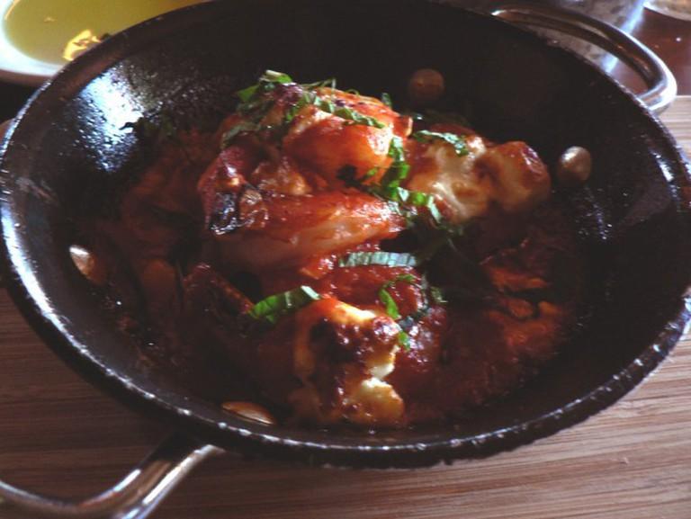 Shrimp saganaki