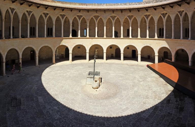 The circular inner courtyard of the Bellveer castle, Mallorca