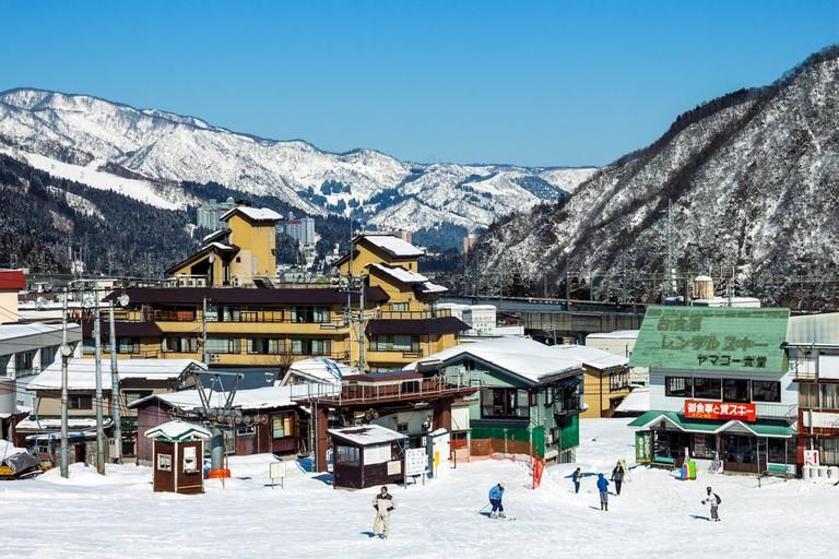 Yuzawa town in winter season, There are a large number of ski resorts in the area, located in Minamiuonuma District,Niigata Prefecture, Japan