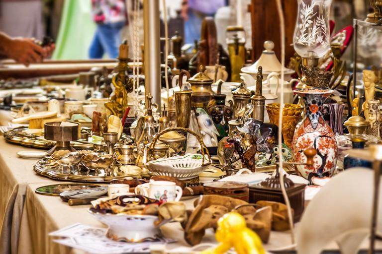 Summer market of old vintage objects