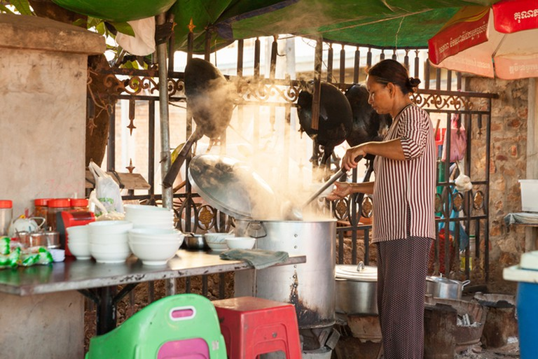 Cambodian food being prepared