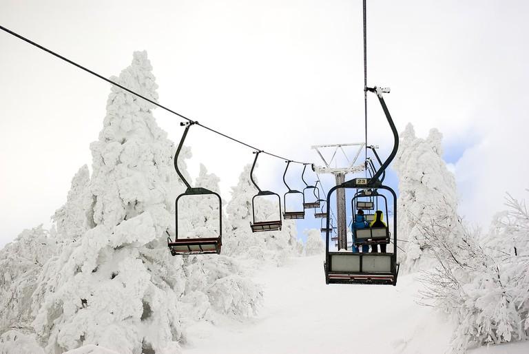 Ski Lift and beautiful winter landscape, Japan