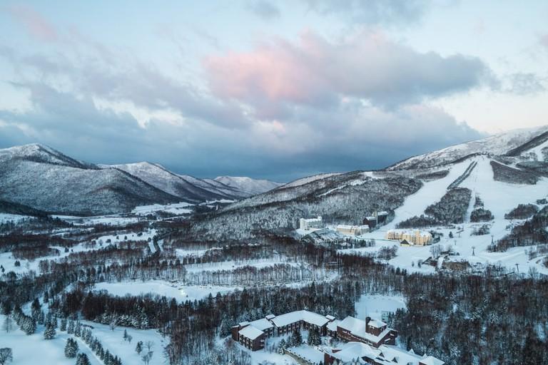 Top view of Building on snow hill ski resort, tomamu, Hokkaido, Japan